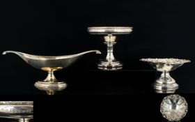 A Collection Of Three Silver Bon Bon Dishes The first, embossed and reticulated,