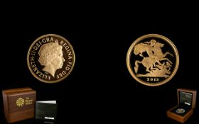 Royal Mint Ltd and Numbered Edition 2013 - 22ct Gold Proof Quarter Sovereign.