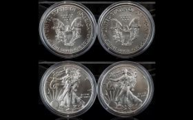 United States of America Liberty Silver One Dollar (2). Each of 1oz fine silver .999. Date 2018.