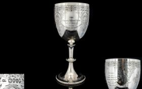 Victorian Period - Ecclesiastical Large Sterling Silver Chalice / Goblet with Chased Decoration to