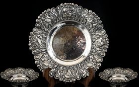 Arts and Crafts Period Silver Stylised Floral Bowl with Planished Centre,