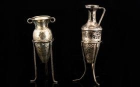 Two Silver Amphora Form Miniature Bud Vases Each Raised On Trefoiled Stand,