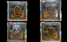 Four Late 19th/Early 20th Century Stained And Painted Leaded Glass Panels - The Four Seasons Square