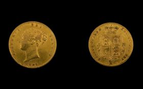 Queen Victoria Young Head / Shield Back - 22ct Gold Half Sovereign date 1865.