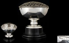 A Pleasing Solid Silver Rose Bowl of Small Proportions with display stand.
