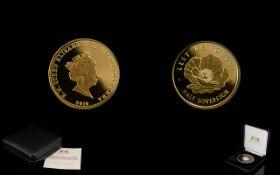 Harrington & Byrne Elizabeth II Limited Edition 2016 Remembrance Day 22 ct Gold Half Sovereign date