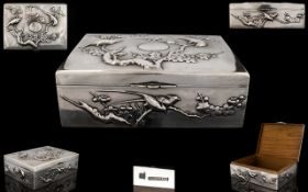 Chinese Export Silver Impressive Lidded Hinged Box of Superb Quality.