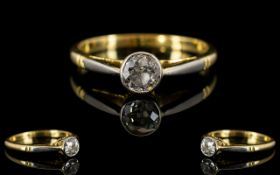 18ct Gold - Porcelain Single Stone Diamond Ring,