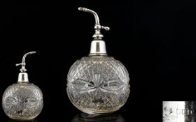 Silver & Cut Crystal Atomizer of Globular Form. From The Early 20th Century with Star Base.