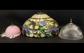 A Large Tiffany Style Leaded Glass Lampshade Canopy form with fluted edge and pewter tone accents,