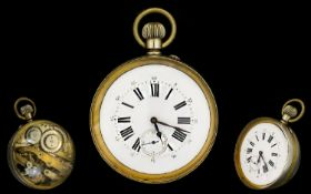 Antique Period - Mechanical Marble Size 9ct Gold Banded Ball Shaped Glass Clock with Visible
