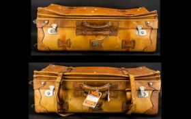 Two Tanned Italian Leather Suitcases - 1920's Style. Superb Quality. Hand Stitched. 31x15x11 Inches.