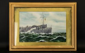 Mid 20thC A Mine Sweeper on Patrol Oil on Board signed by T. Carter size 11 by 17.