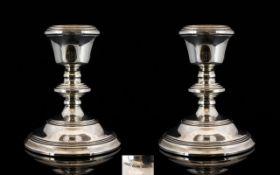 Elizabeth II Fine Quality Pair of Silver Candlesticks in pleasing form. Hallmarked Birmingham 1975.