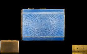 Art Deco Period Superb Quality Gilt Metal/Guilloche Sunburst Blue Enamel Ladies Small Cigarette