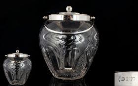 Edwardian Period Nice Quality Silver Lidded Cut Glass Swivel Swing Handle Basket of Nice