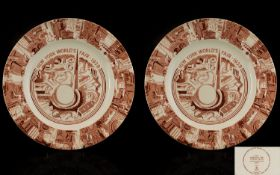 New York World's Fair 1939 A Pair Of Cabinet Plates Made For Tiffany And Co By Adams cream ground