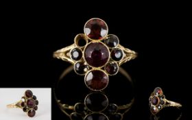 Antique Period - Nice Quality 9ct Gold Garnet Set Ring of Pleasing Form.