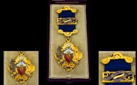 Victorian Period - Enamel and Silver Gilt Manchester Medal with Original Hinged Case and Excellent