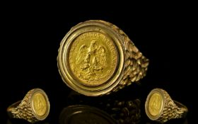 Mexican Gold ( 2 ) Dos Pesos Coin ( 22ct Gold ) Date 1945, Mint Mark M, Set within a 9ct Gold Ring,
