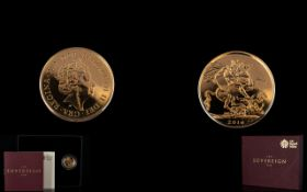 Royal Mint Elizabeth II Limited Edition 22 ct Gold Full Sovereign date 2016.