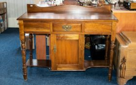 Mahogany Console Table - cupboard to centre, below a single drawer.