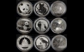 A Collection of One Ounce Fine Silver Coins (9 in total). Includes: 1.