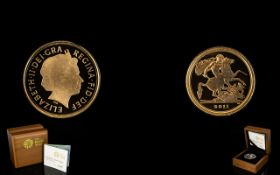 Royal Mint Limited and Numbered Edition 2011-22ct Gold Proof Quarter Sovereign mintage 15,