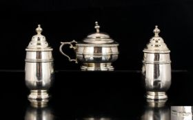 Walker and Hall Matched 3 Piece Solid Silver Cruet Set of Solid Construction.