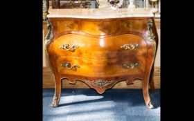 Sideboard/Chest of Drawers with three top drawers and two lower. Marble top with ormolu decoration.