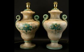 A Pair of Large French Table Lamps in cream stippled paint effect with pale green floral relief and