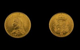 Queen Victoria Jubilee Young Head Shield Back 22ct Gold Half Sovereign Dated 1887, London Mint,