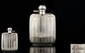 Edwardian Period Excellent Quality Solid Silver Hip Flask Fashioned with screw on hinged top,