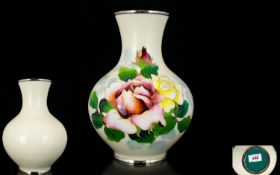 Early - Mid 20th Century Japanese Cloisonne And Silver Vase Bulbous form vase with slightly flared