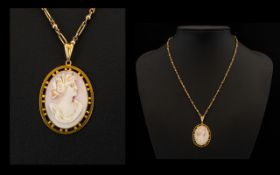 9ct Gold Ladies Attractive Oval Shaped Cameo Set Mounted Pendant with attached 9ct Gold Fancy Chain.