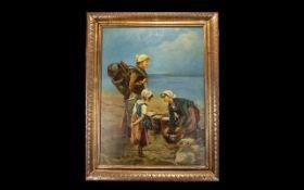 After Frederick Carl Frieseke Oil On Canvas Depicting three female figures gathering salt.