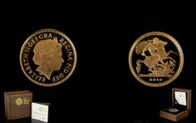 Royal Mint Ltd and Numbered Edition 2010 22ct Gold Proof Quarter Sovereign.