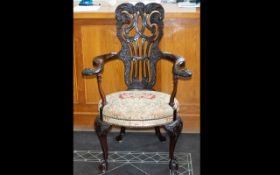 Early 20th Century Hall Chair Comprising ornately moulded fiddle back,