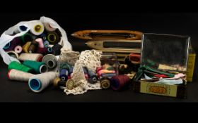 Haberdashery Interest - To Include, Vintage Shuttles, Cotton And Lace.