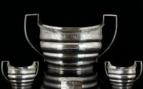 George III Twin Handle Silver Sugar Bowl of Pleasing Form and Proportions. Hallmark London 1804,