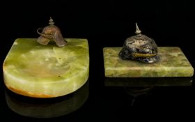 Military Interest Green Onyx Ashtray With Miniature Metal Helmet recessed green onyx slab with