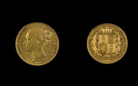 Queen Victoria Young Head Shield Back 22ct Gold Full Sovereign. Date 1845. London Mint.