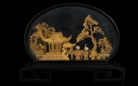 Chinese Miniature Cased Cork Carving. In The Form Of A Village Hut With Trees And Cranes.
