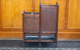 Late 19th/Early 20th Century Umbrella Stand Of plain form comprising two rectangular stained oak