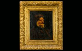 A 19th Century Portrait On Canvas Unsigned portrait of an elderly whiskered gentleman, housed in