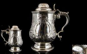 Elkington & Co. Victorian Period Silver Plated Lidded Tankard.