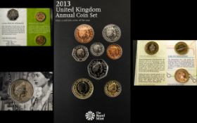 Royal Mint 2013 United Kingdom Annual Coin Set 15 coins in total.