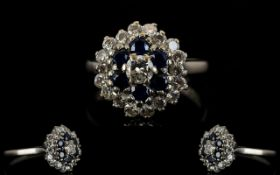 18ct White Gold - Attractive Sapphire and Diamond Cluster Ring, In a Flower Head Design.