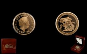 Royal Mint Limited Edition United Kingdom Proof Struck 22ct Gold Full Sovereign date 2017,