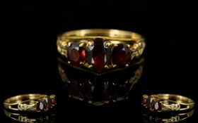 Antique Style Attractive 3 Stone Garnet Ring. Excellent Setting. Full Hallmark for 9ct.